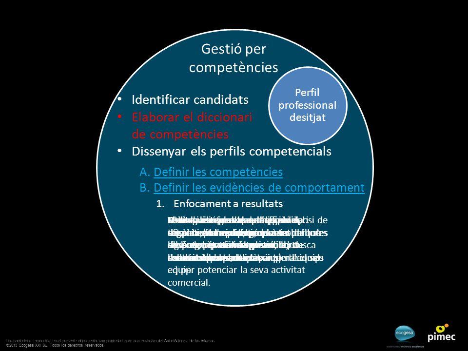 Gestió per competències Perfil professional desitjat A.Definir les competències B.Definir les evidències de comportament Identificar candidats Elabora