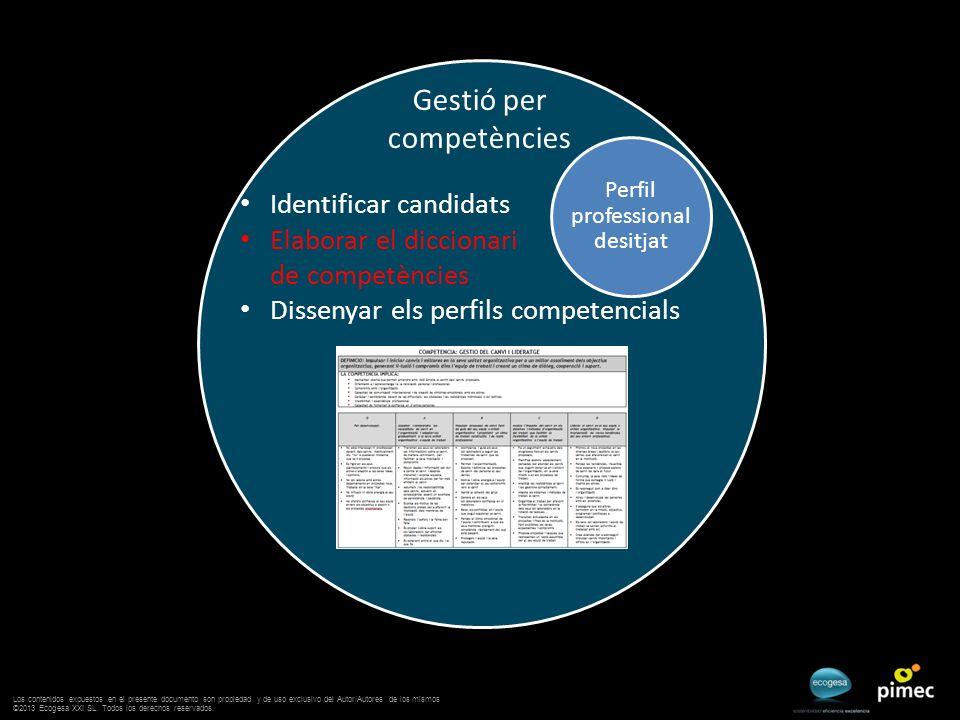 Gestió per competències Perfil professional desitjat Identificar candidats Elaborar el diccionari de competències Dissenyar els perfils competencials