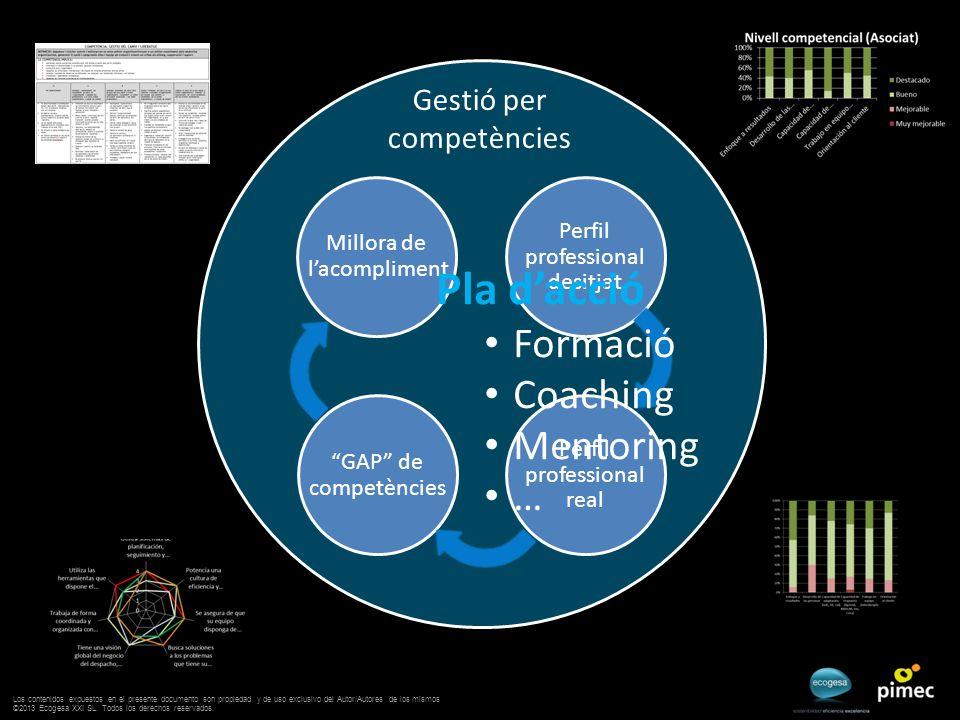 Gestió per competències GAP de competències Perfil professional desitjat Perfil professional real Millora de lacompliment Pla dacció Formació Coaching