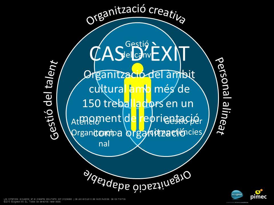 Gestió per competències Atenció Organitzacio- nal Gestió del canvi CAS DÈXIT Organització del àmbit cultural amb més de 150 treballadors en un moment