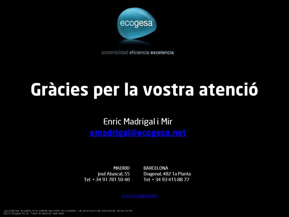 Gràcies per la vostra atenció Enric Madrigal i Mir emadrigal@ecogesa.net MADRID José Abascal, 55 Tel. + 34 91 781 50 40 BARCELONA Diagonal, 482 1a Pla