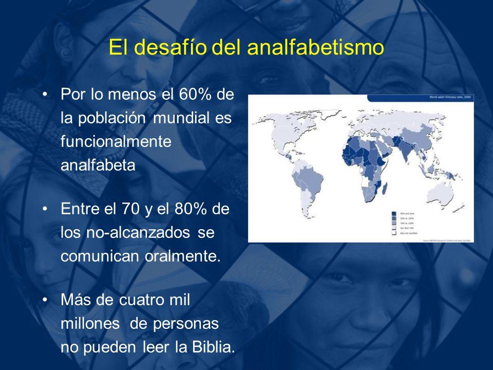 El desafío del analfabetismo Por lo menos el 60% de la población mundial es funcionalmente analfabeta Entre el 70 y el 80% de los no-alcanzados se com