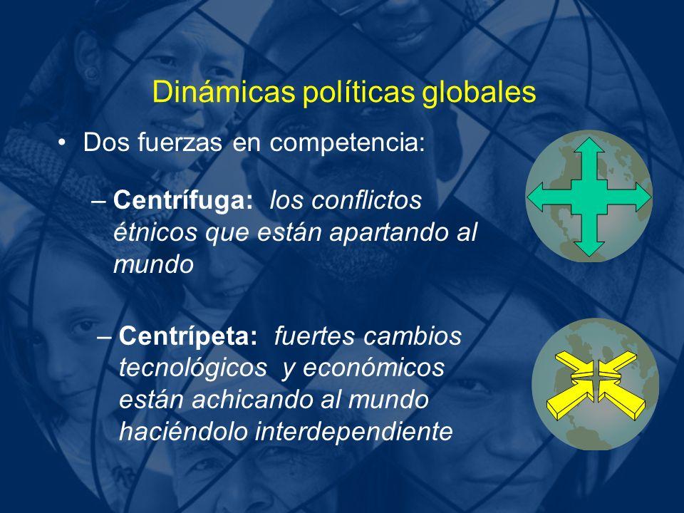Dinámicas políticas globales Dos fuerzas en competencia: –Centrífuga: los conflictos étnicos que están apartando al mundo –Centrípeta: fuertes cambios tecnológicos y económicos están achicando al mundo haciéndolo interdependiente