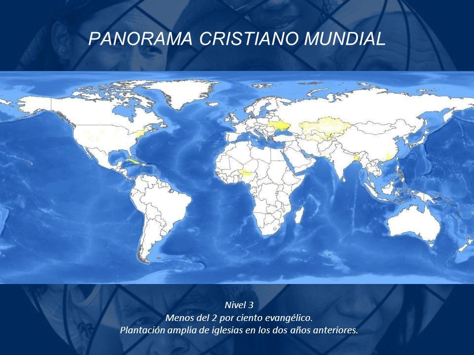 PANORAMA CRISTIANO MUNDIAL Nivel 3 Menos del 2 por ciento evangélico. Plantación amplia de iglesias en los dos años anteriores.