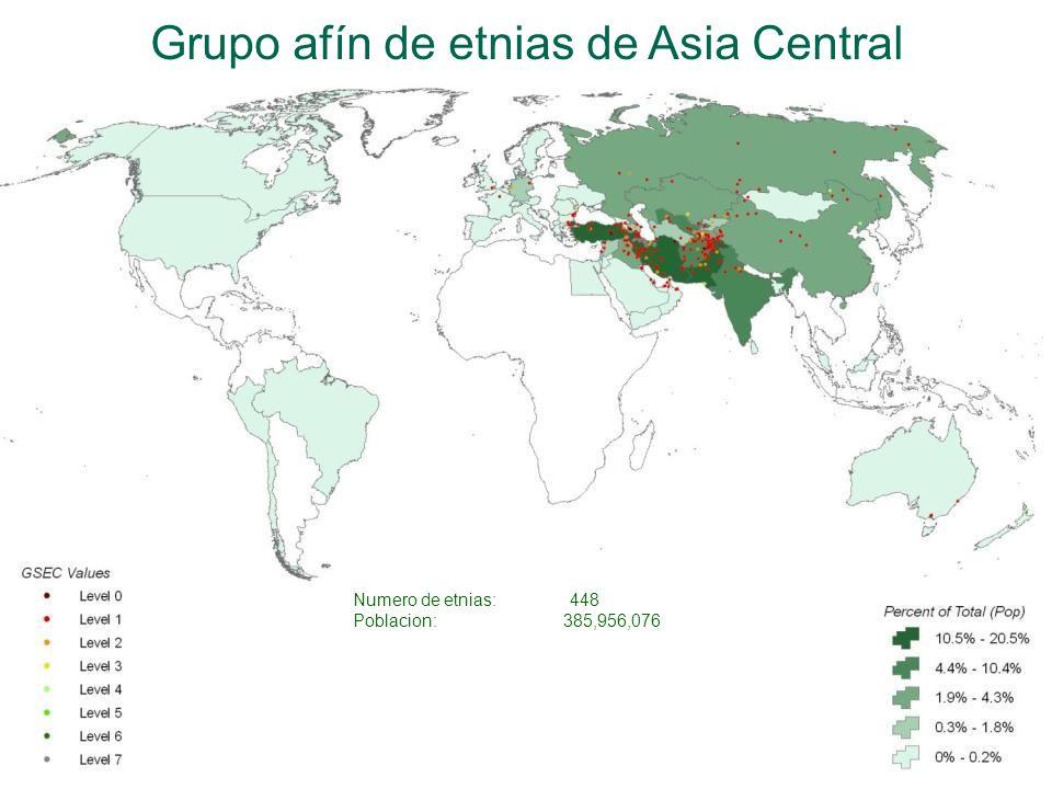 Grupo afín de etnias de Asia Central Numero de etnias: 448 Poblacion:385,956,076