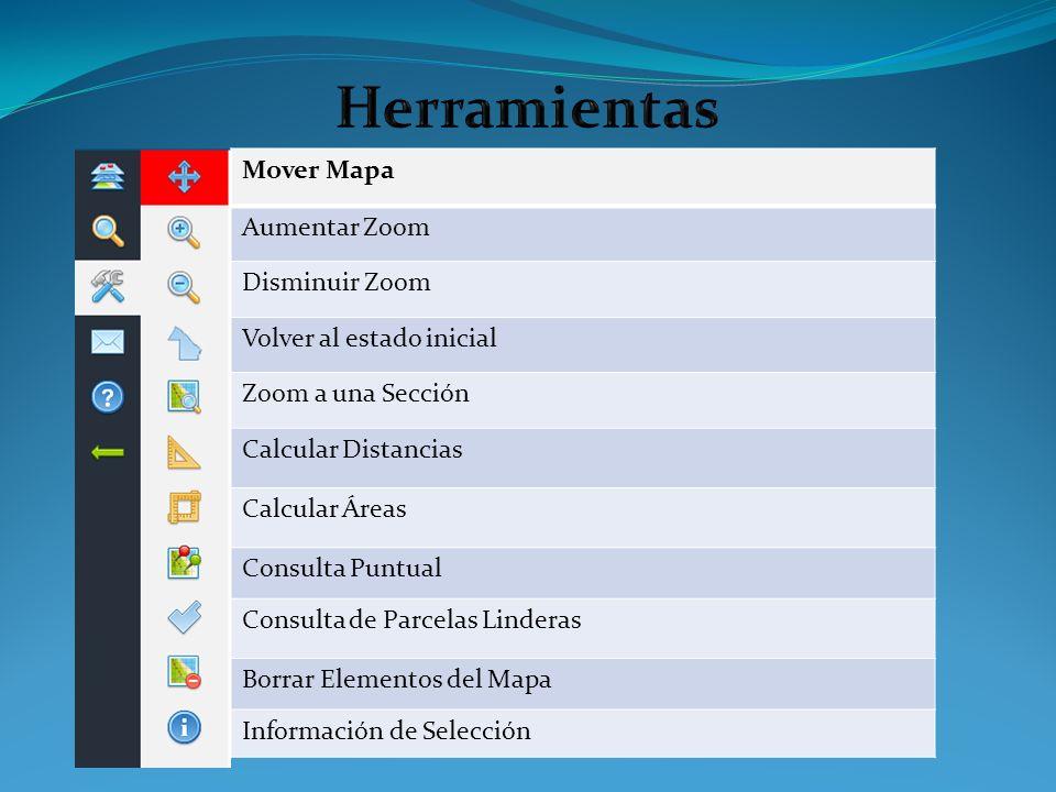Mover Mapa Aumentar Zoom Disminuir Zoom Volver al estado inicial Zoom a una Sección Calcular Distancias Calcular Áreas Consulta Puntual Consulta de Parcelas Linderas Borrar Elementos del Mapa Información de Selección