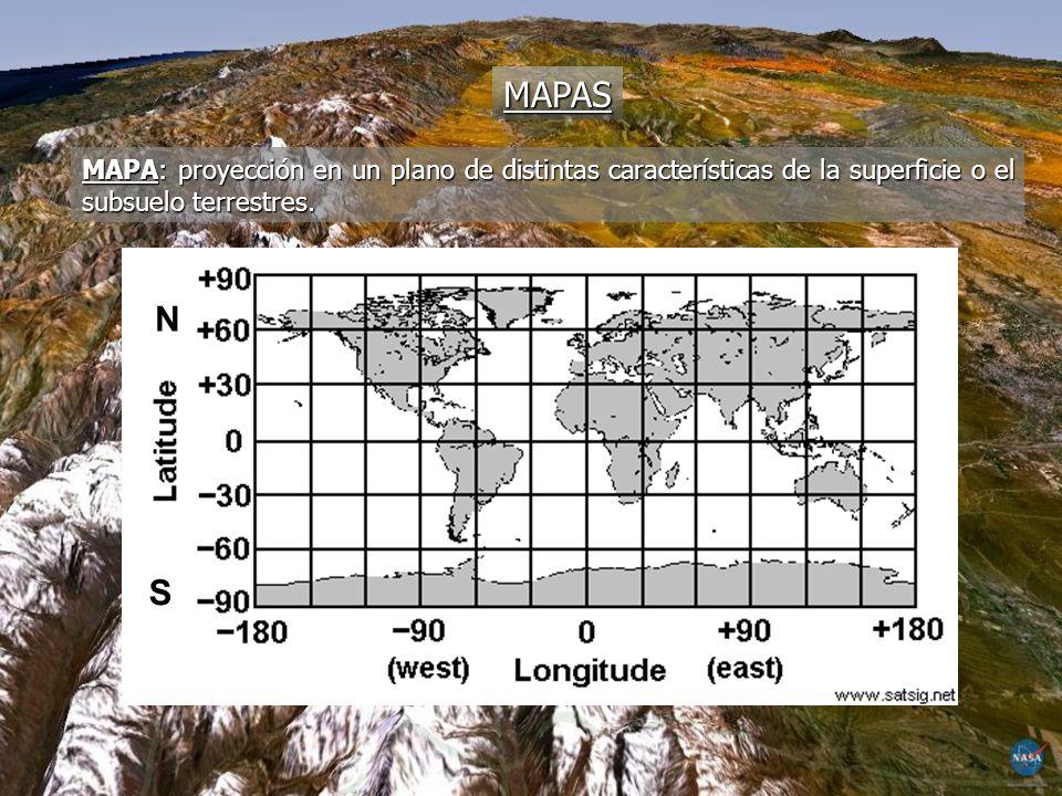 MAPAS MAPA: proyección en un plano de distintas características de la superficie o el subsuelo terrestres. N S