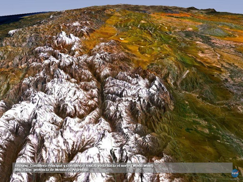 Imagen: Cordillera Principal y Cordillera Frontal, vista hacia el norte (World Wind) Ubicación: provincia de Mendoza, Argentina.