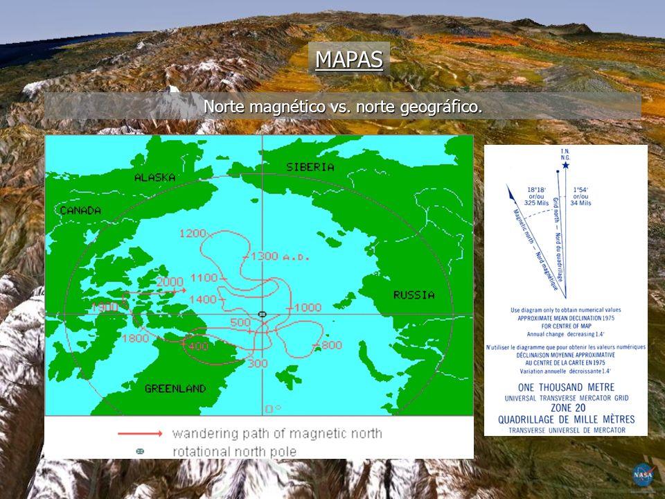 MAPAS Norte magnético vs. norte geográfico.
