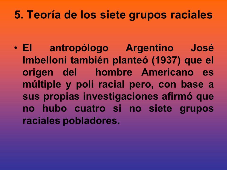 5. Teoría de los siete grupos raciales El antropólogo Argentino José Imbelloni también planteó (1937) que el origen del hombre Americano es múltiple y