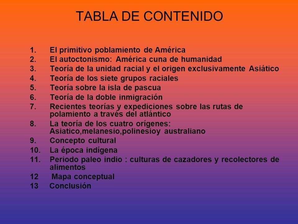 TABLA DE CONTENIDO 1.El primitivo poblamiento de América 2.El autoctonismo: América cuna de humanidad 3.Teoría de la unidad racial y el origen exclusi