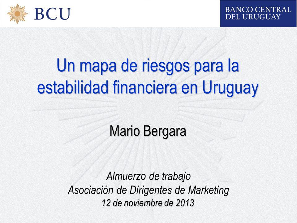 Un mapa de riesgos para la estabilidad financiera en Uruguay Mario Bergara Almuerzo de trabajo Asociación de Dirigentes de Marketing 12 de noviembre de 2013