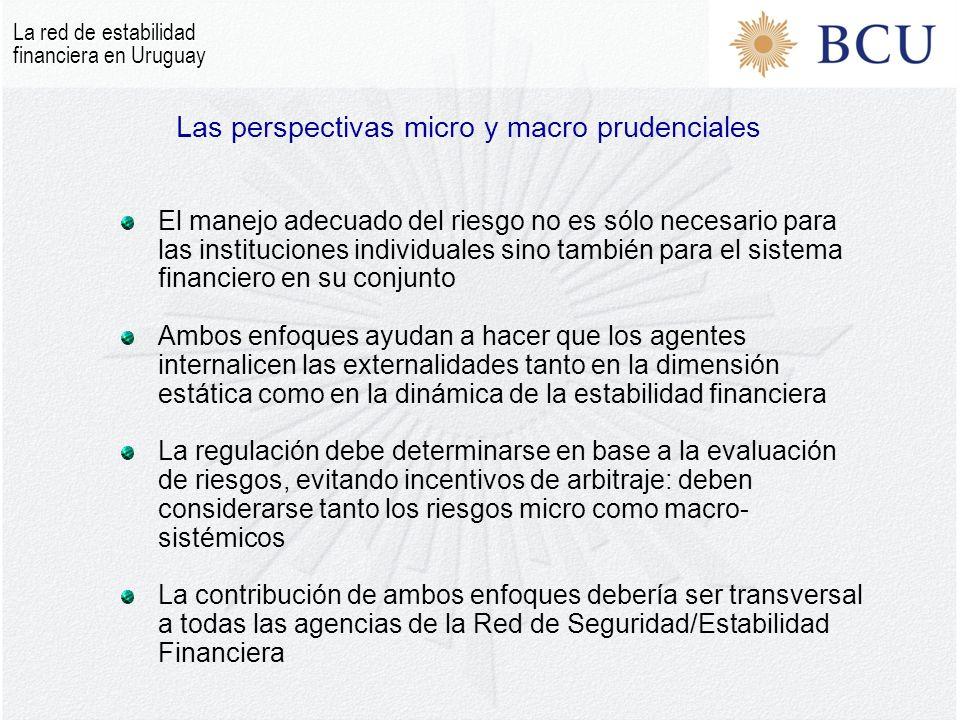 Las perspectivas micro y macro prudenciales El manejo adecuado del riesgo no es sólo necesario para las instituciones individuales sino también para el sistema financiero en su conjunto Ambos enfoques ayudan a hacer que los agentes internalicen las externalidades tanto en la dimensión estática como en la dinámica de la estabilidad financiera La regulación debe determinarse en base a la evaluación de riesgos, evitando incentivos de arbitraje: deben considerarse tanto los riesgos micro como macro- sistémicos La contribución de ambos enfoques debería ser transversal a todas las agencias de la Red de Seguridad/Estabilidad Financiera La red de estabilidad financiera en Uruguay