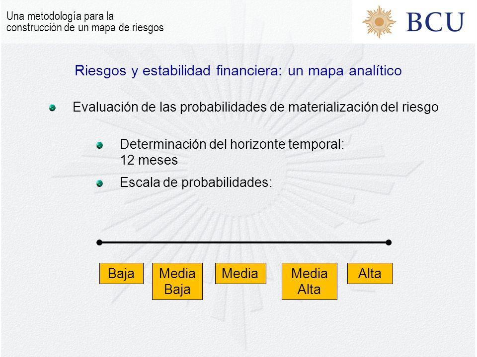 Una metodología para la construcción de un mapa de riesgos Riesgos y estabilidad financiera: un mapa analítico Evaluación de las probabilidades de materialización del riesgo Determinación del horizonte temporal: 12 meses Escala de probabilidades: BajaMedia Baja MediaAltaMedia Alta