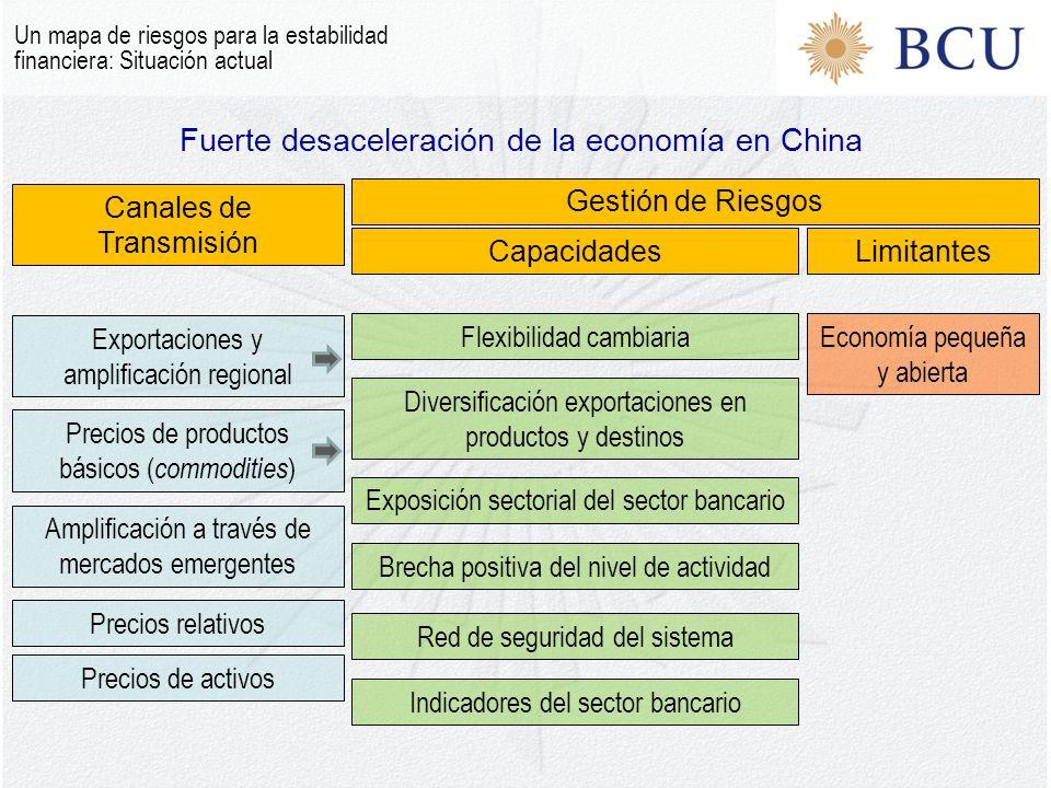 Fuerte desaceleración de la economía en China Un mapa de riesgos para la estabilidad financiera: Situación actual Canales de Transmisión Gestión de Riesgos CapacidadesLimitantes Exportaciones y amplificación regional Precios de productos básicos ( commodities ) Amplificación a través de mercados emergentes Precios relativos Precios de activos Flexibilidad cambiariaEconomía pequeña y abierta Diversificación exportaciones en productos y destinos Exposición sectorial del sector bancario Brecha positiva del nivel de actividad Indicadores del sector bancario Red de seguridad del sistema