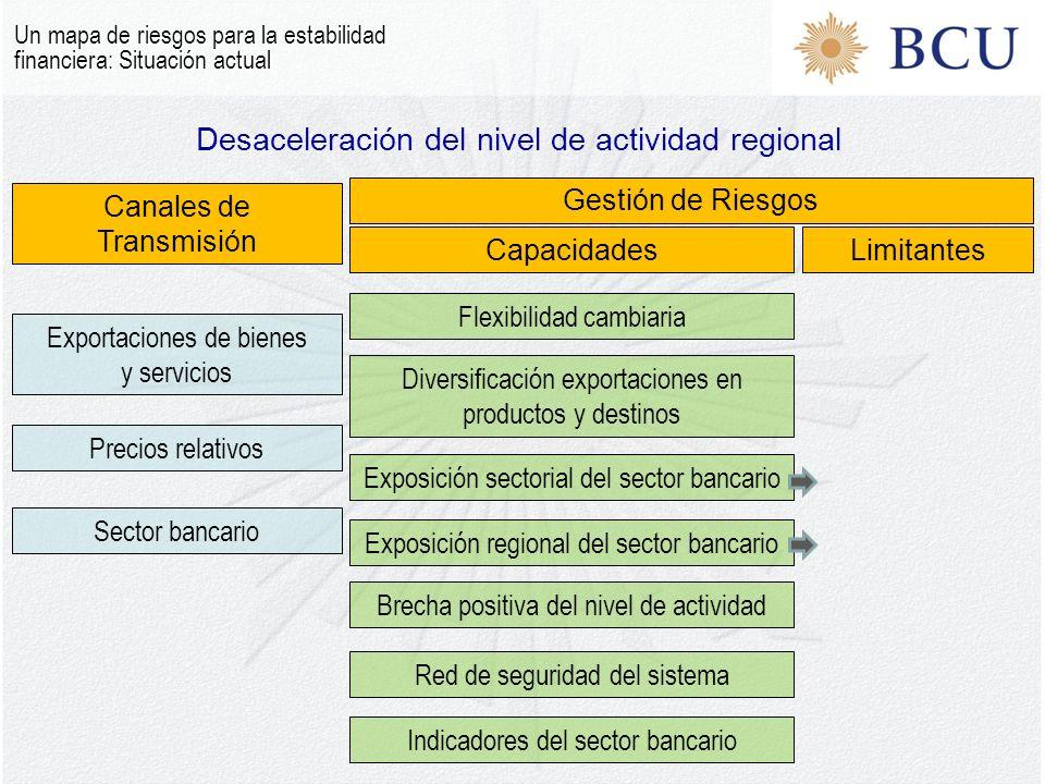Desaceleración del nivel de actividad regional Un mapa de riesgos para la estabilidad financiera: Situación actual Canales de Transmisión Gestión de R