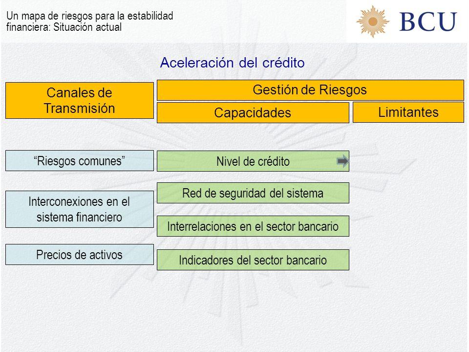 Aceleración del crédito Un mapa de riesgos para la estabilidad financiera: Situación actual Canales de Transmisión Gestión de Riesgos Capacidades Limitantes Riesgos comunes Interconexiones en el sistema financiero Precios de activos Nivel de crédito Interrelaciones en el sector bancario Red de seguridad del sistema Indicadores del sector bancario