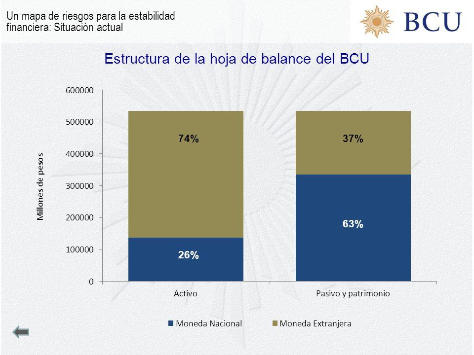 Estructura de la hoja de balance del BCU Un mapa de riesgos para la estabilidad financiera: Situación actual 74%37% 26% 63%