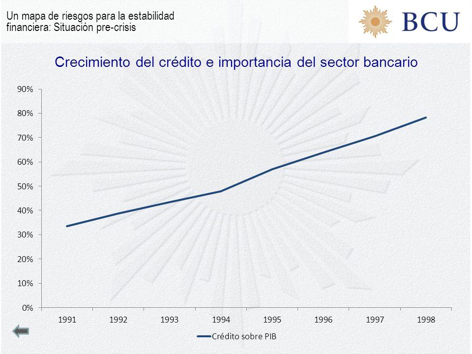 Crecimiento del crédito e importancia del sector bancario Un mapa de riesgos para la estabilidad financiera: Situación pre-crisis