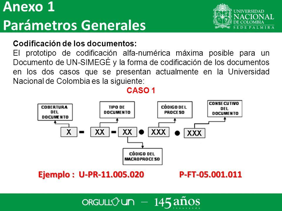 Codificación de los documentos: El prototipo de codificación alfa-numérica máxima posible para un Documento de UN-SIMEGÉ y la forma de codificación de los documentos en los dos casos que se presentan actualmente en la Universidad Nacional de Colombia es la siguiente: CASO 1 Ejemplo : U-PR-11.005.020 P-FT-05.001.011 Anexo 1 Parámetros Generales