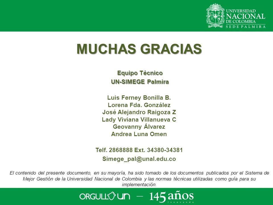MUCHAS GRACIAS Equipo Técnico Equipo Técnico UN-SIMEGE Palmira UN-SIMEGE Palmira Luis Ferney Bonilla B.