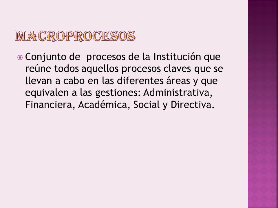 Conjunto de procesos de la Institución que reúne todos aquellos procesos claves que se llevan a cabo en las diferentes áreas y que equivalen a las gestiones: Administrativa, Financiera, Académica, Social y Directiva.