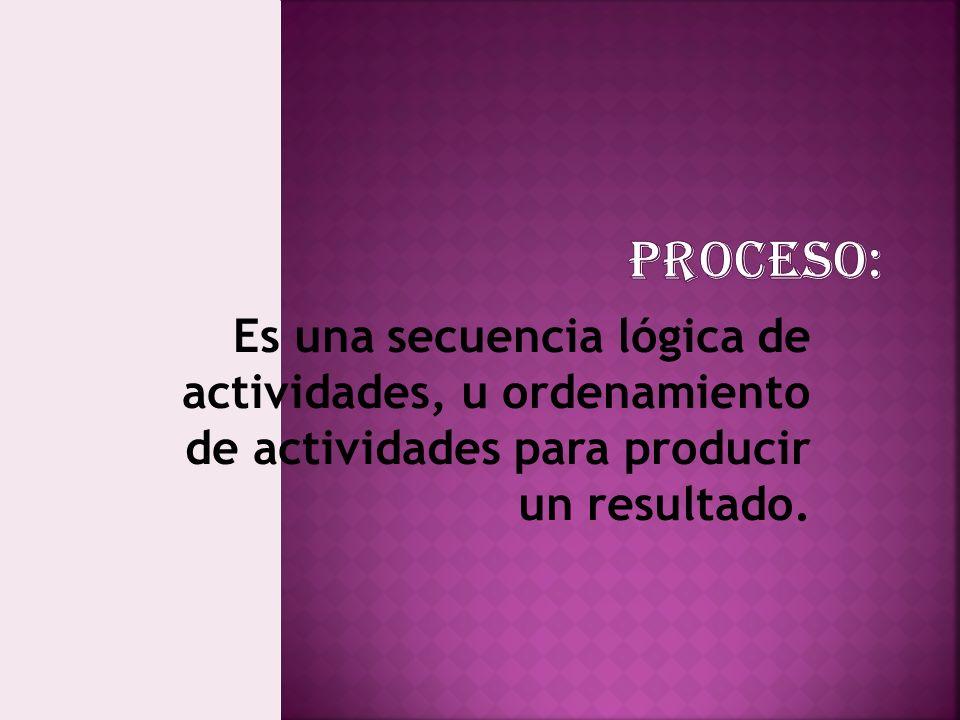 Es una secuencia lógica de actividades, u ordenamiento de actividades para producir un resultado.