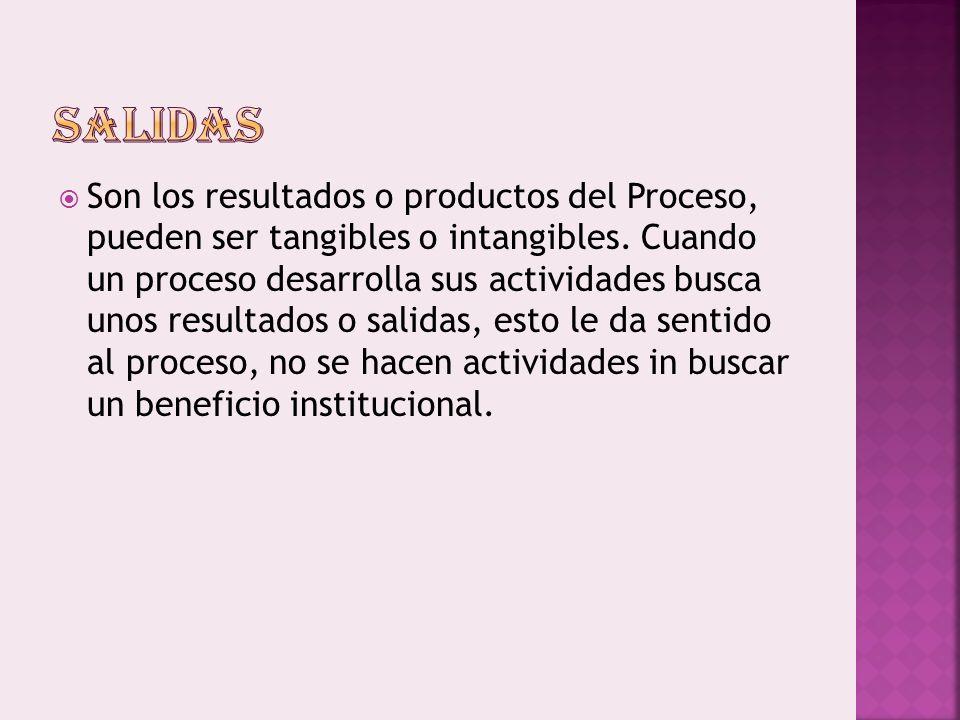 Son los resultados o productos del Proceso, pueden ser tangibles o intangibles.