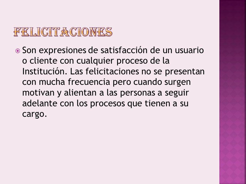 Son expresiones de satisfacción de un usuario o cliente con cualquier proceso de la Institución.