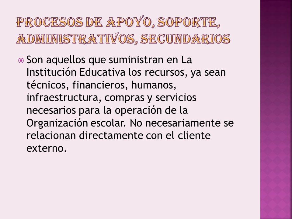 Son aquellos que suministran en La Institución Educativa los recursos, ya sean técnicos, financieros, humanos, infraestructura, compras y servicios necesarios para la operación de la Organización escolar.