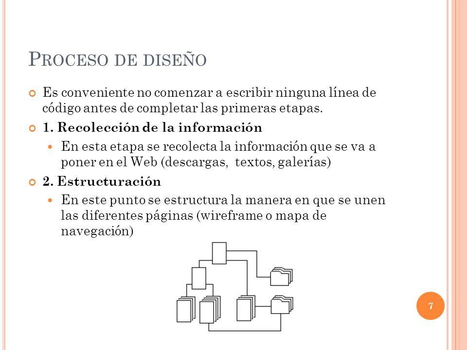 P ROCESO DE DISEÑO Es conveniente no comenzar a escribir ninguna línea de código antes de completar las primeras etapas.