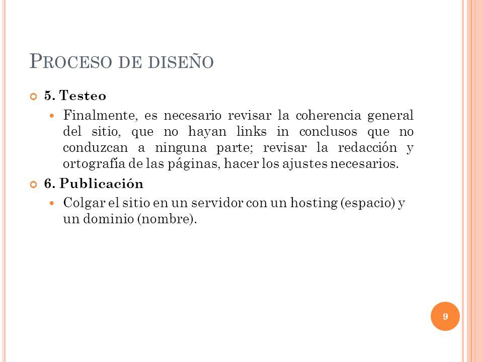 P ROCESO DE DISEÑO 5.