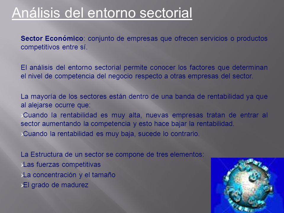 Sector Económico: conjunto de empresas que ofrecen servicios o productos competitivos entre sí. El análisis del entorno sectorial permite conocer los