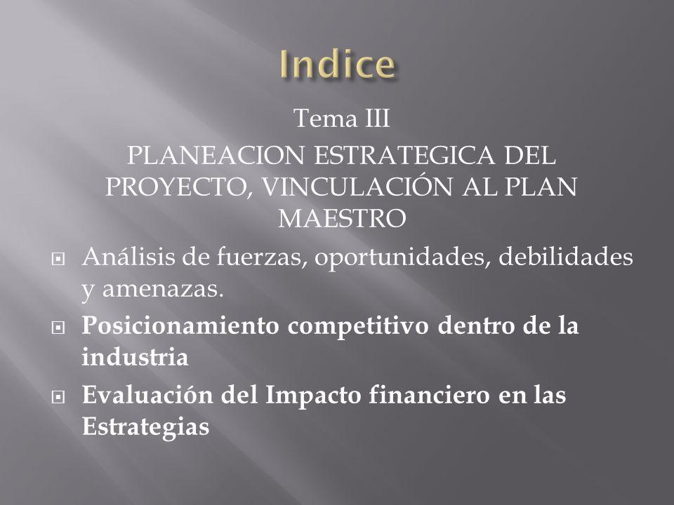 Tema III PLANEACION ESTRATEGICA DEL PROYECTO, VINCULACIÓN AL PLAN MAESTRO Análisis de fuerzas, oportunidades, debilidades y amenazas. Posicionamiento
