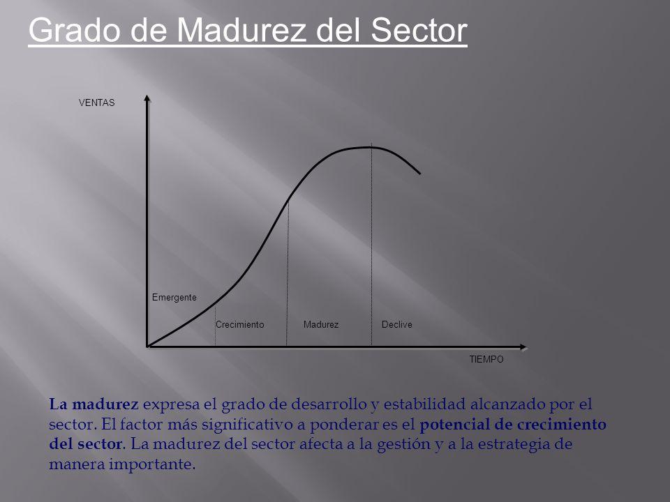 Grado de Madurez del Sector Emergente CrecimientoMadurezDeclive VENTAS TIEMPO La madurez expresa el grado de desarrollo y estabilidad alcanzado por el