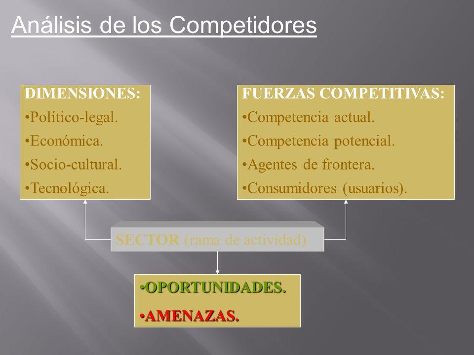 DIMENSIONES: Político-legal. Económica. Socio-cultural. Tecnológica. FUERZAS COMPETITIVAS: Competencia actual. Competencia potencial. Agentes de front