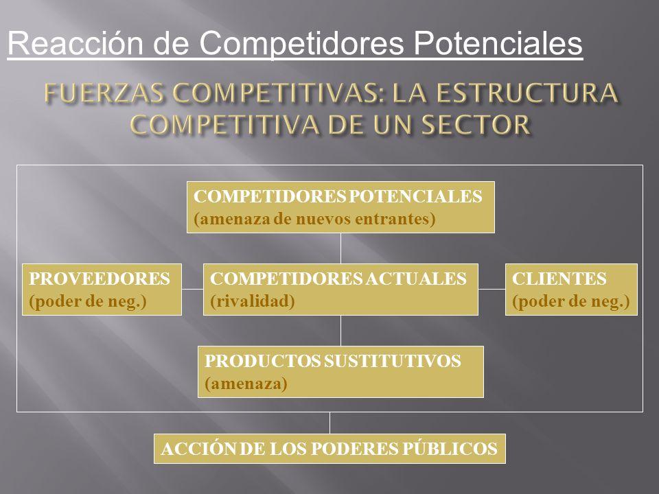 COMPETIDORES POTENCIALES (amenaza de nuevos entrantes) PRODUCTOS SUSTITUTIVOS (amenaza) ACCIÓN DE LOS PODERES PÚBLICOS COMPETIDORES ACTUALES (rivalida