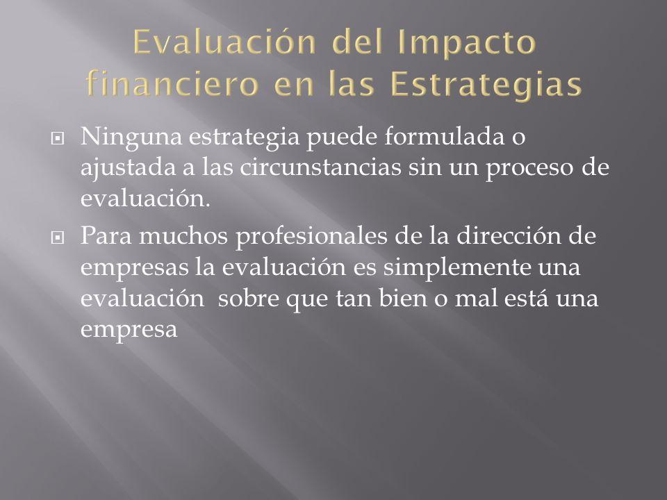 Ninguna estrategia puede formulada o ajustada a las circunstancias sin un proceso de evaluación. Para muchos profesionales de la dirección de empresas