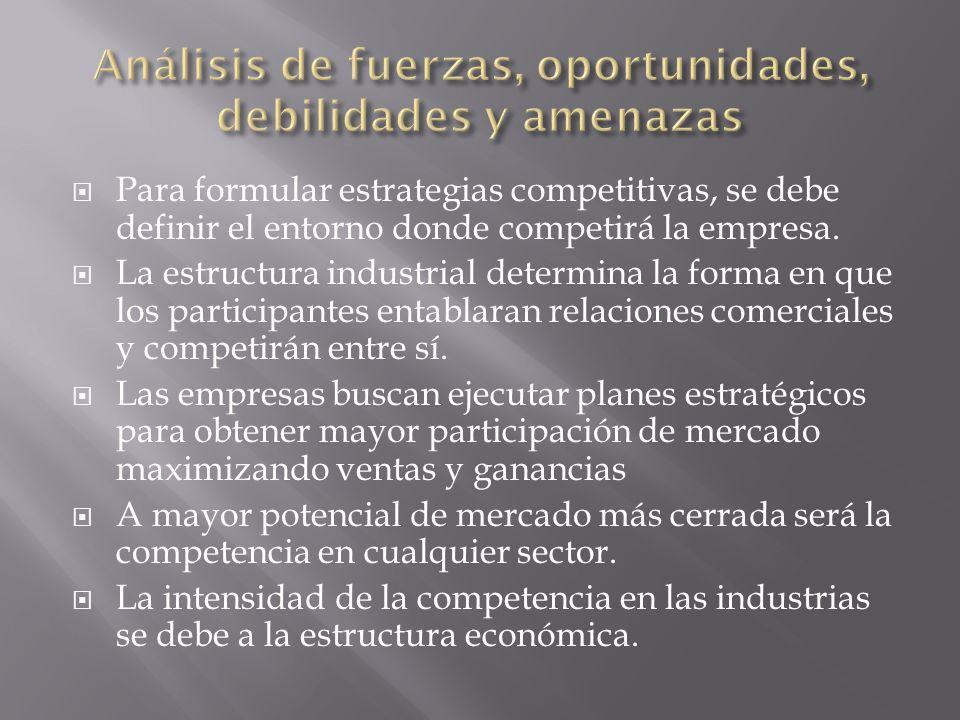 Concentración y Tamaño del Sector El dato significativo en este rubro para elaborar la estrategia empresarial es el grado de concentración o fragmentación del sector.