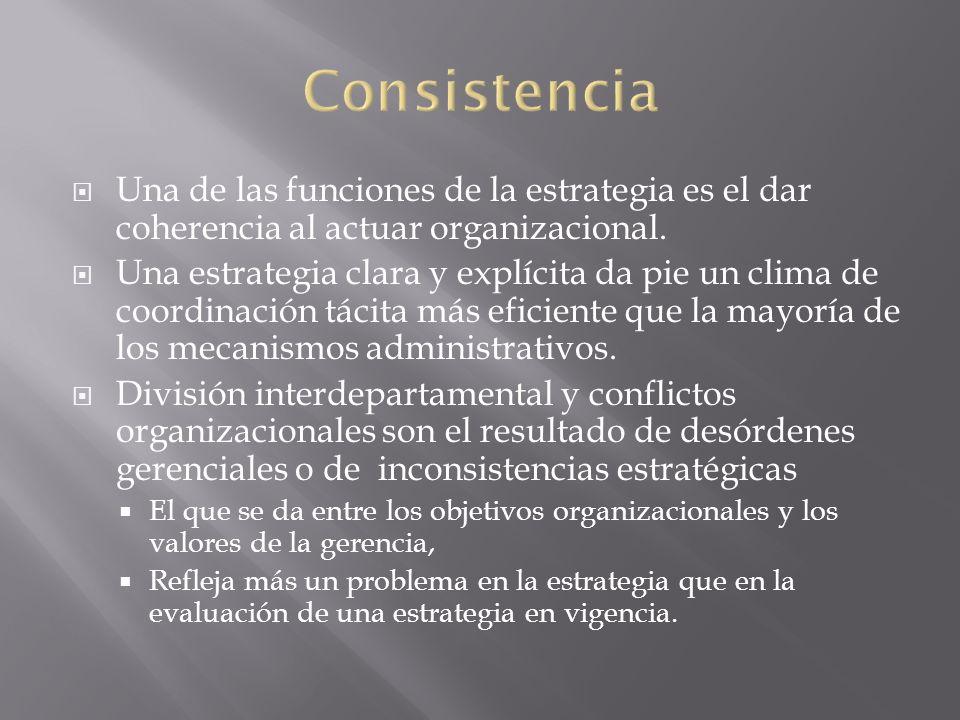 Una de las funciones de la estrategia es el dar coherencia al actuar organizacional. Una estrategia clara y explícita da pie un clima de coordinación