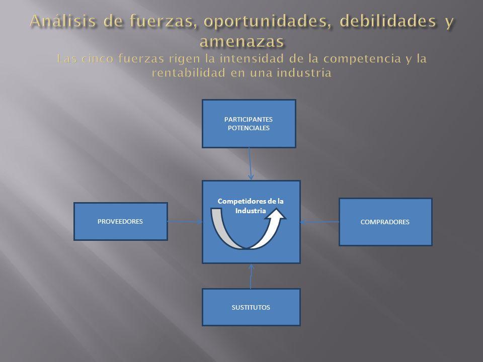 Competidores de la Industria PROVEEDORES SUSTITUTOS PARTICIPANTES POTENCIALES COMPRADORES