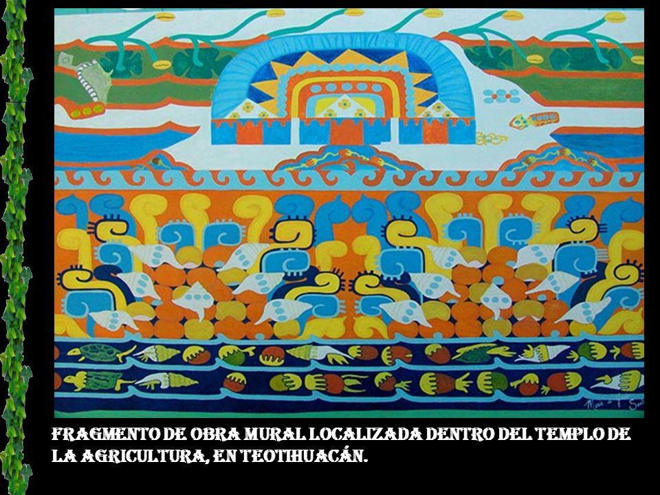 Fragmento de mural en el pórtico 13 de Teotihuacán, en donde se representa un jaguar.