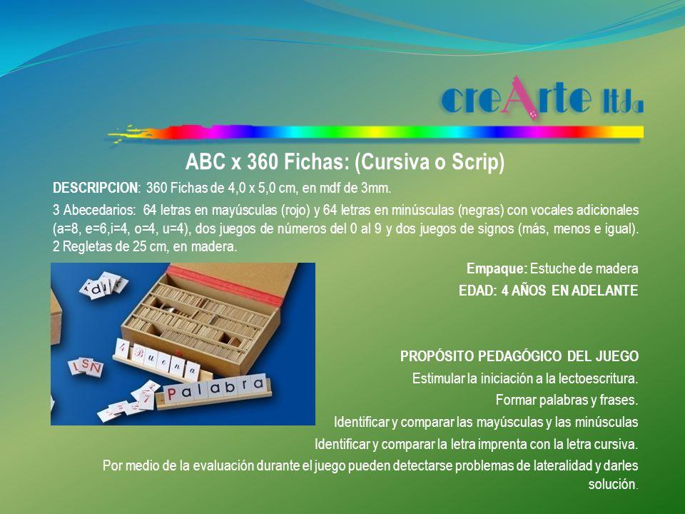 ABC x 120 Fichas: (Cursiva o Scrip) DESCRIPCION : 120 Fichas de 4,0 x 5,0 cm, en mdf de 3mm.
