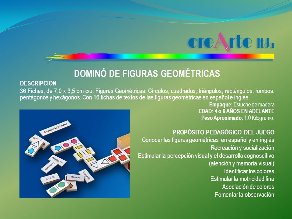 TANGRAM DESCRIPCION Tamaño: 12 cm x 12 cm 7 Fichas pintadas en diferentes colores: dos triángulos grandes, dos triángulos pequeños, un triángulo mediano, un cuadrado y un paralelogramo 1 Base para encajar las fichas de 16,4 x 16,4 cts.