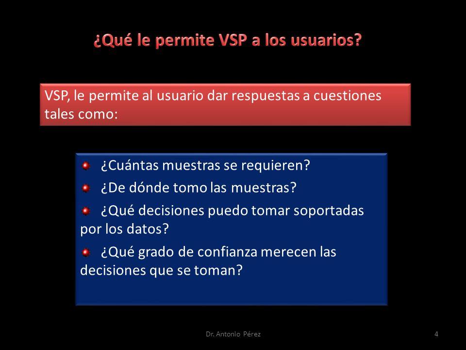 VSP, le permite al usuario dar respuestas a cuestiones tales como: ¿Cuántas muestras se requieren.