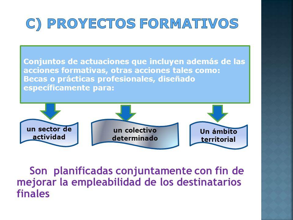 Son planificadas conjuntamente con fin de mejorar la empleabilidad de los destinatarios finales Conjuntos de actuaciones que incluyen además de las ac