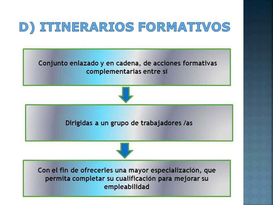 Conjunto enlazado y en cadena, de acciones formativas complementarias entre sí Dirigidas a un grupo de trabajadores /as Con el fin de ofrecerles una m