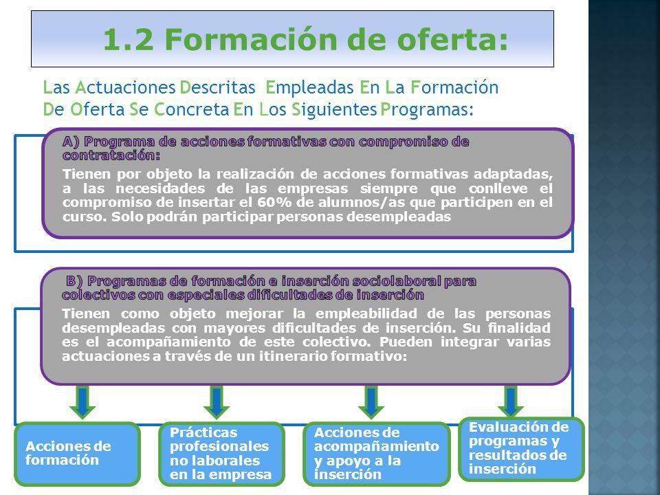 1.2 Formación de oferta: Acciones de formación Prácticas profesionales no laborales en la empresa Acciones de acompañamiento y apoyo a la inserción Evaluación de programas y resultados de inserción Las Actuaciones Descritas Empleadas En La Formación De Oferta Se Concreta En Los Siguientes Programas: