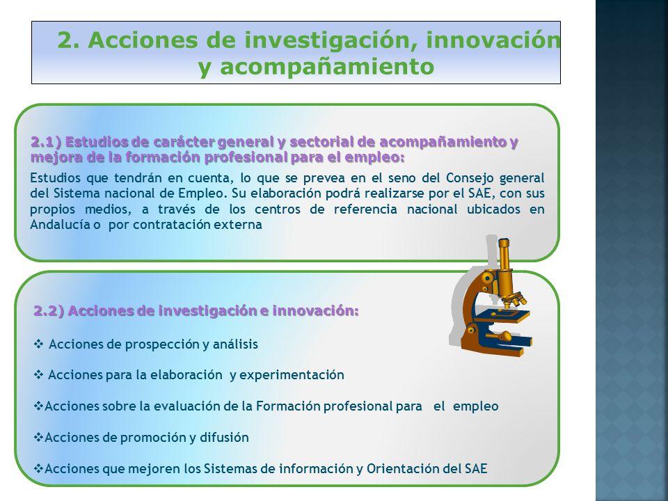 2. Acciones de investigación, innovación y acompañamiento 2.1) Estudios de carácter general y sectorial de acompañamiento y mejora de la formación pro