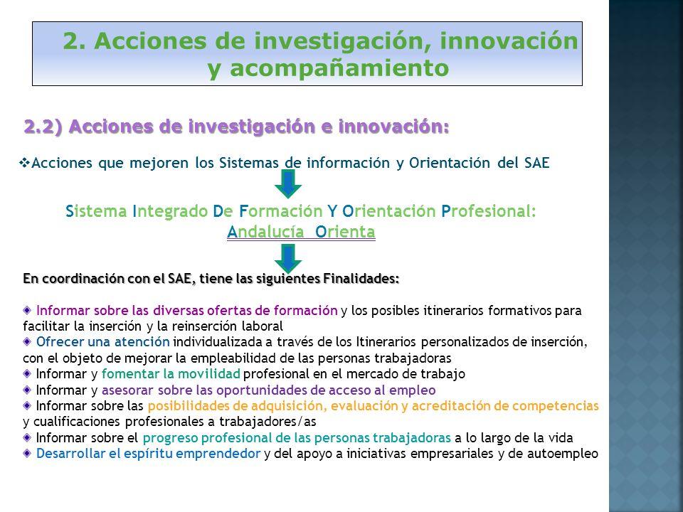 2. Acciones de investigación, innovación y acompañamiento 2.2) Acciones de investigación e innovación: Acciones que mejoren los Sistemas de informació
